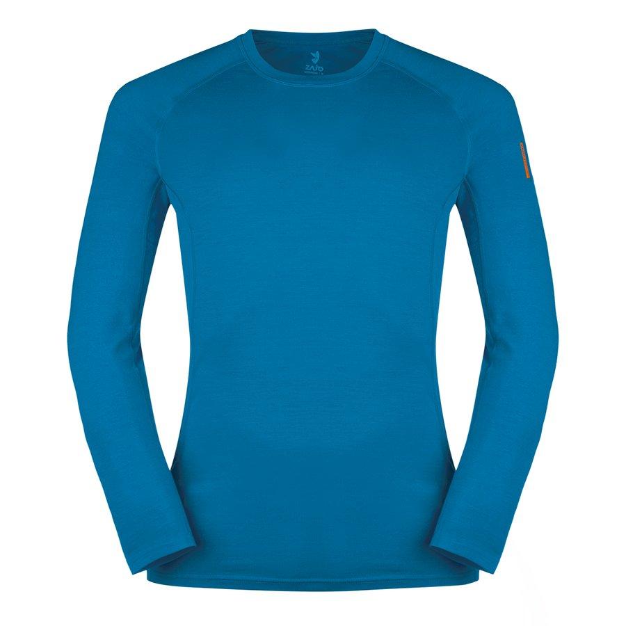 Modré pánské tričko s dlouhým rukávem Bjorn Merino Tshirt LS, Zajo
