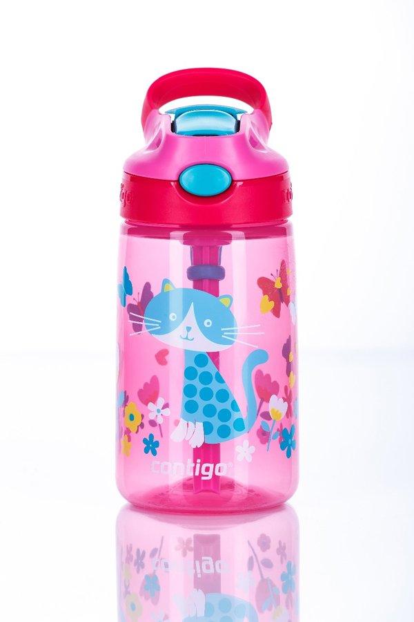 Růžová dětská láhev s brčkem Autospout HL James 420, Contigo - objem 0,4 l