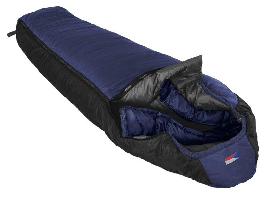 Modrý zimní spacák s pravým zipem LHOTSE 200/90, Prima - délka 200 cm
