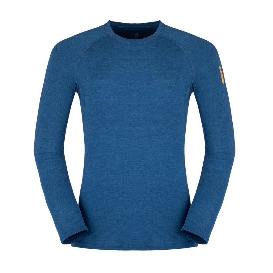 Modré merino pánské tričko Bjorn Merino Tshirt LS, Zajo