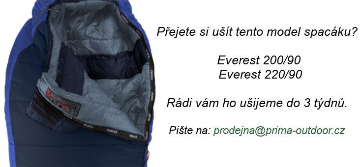 Černý zimní spacák s pravým zipem EVEREST 200/90, Prima - délka 200 cm