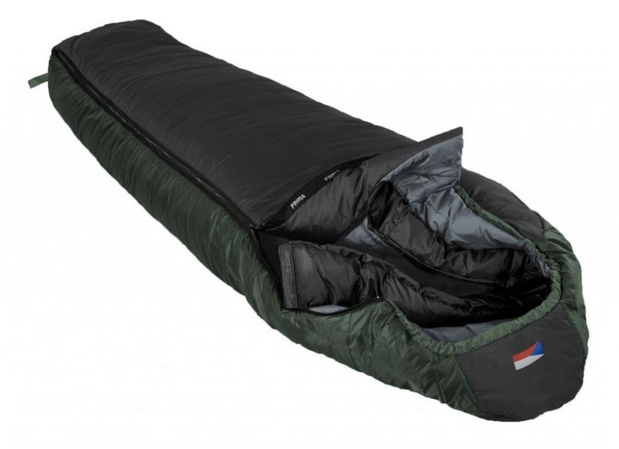 Černý zimní spacák s pravým zipem LHOTSE 200/90, Prima - délka 200 cm