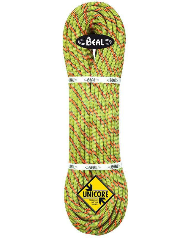 Žluté lano Booster Unicore, Beal - délka 80 m a tloušťka 9,7 mm