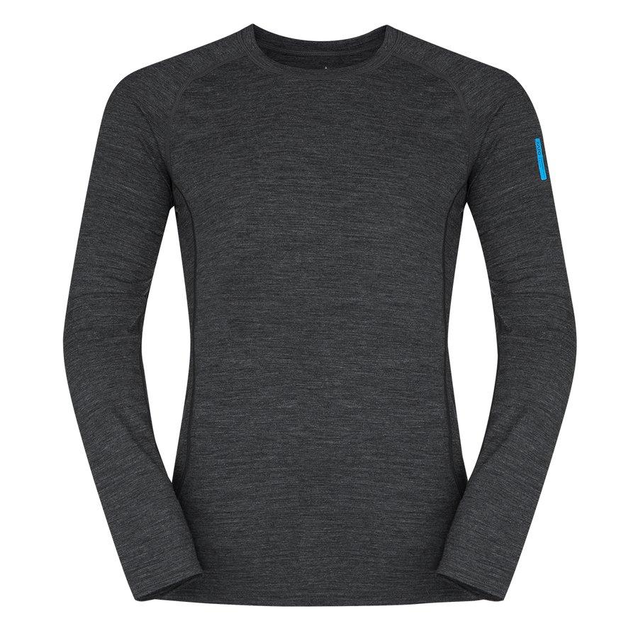 Černé pánské tričko s dlouhým rukávem Bjorn Merino Tshirt LS, Zajo
