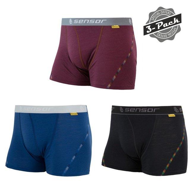 Merino pánské boxerky sada 3 ks MERINO AIR, Sensor