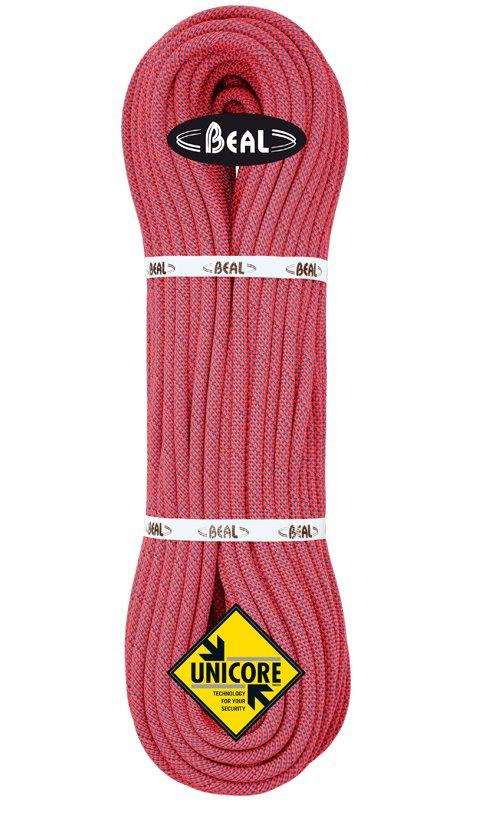 Červené lano Joker Unicore, Beal - délka 50 m a tloušťka 9,1 mm